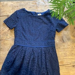 CREWCUTS GIRLS NAVY SS EMBROIDERED DRESS SIZE 10